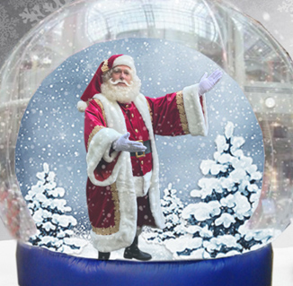Kerstman in de globe